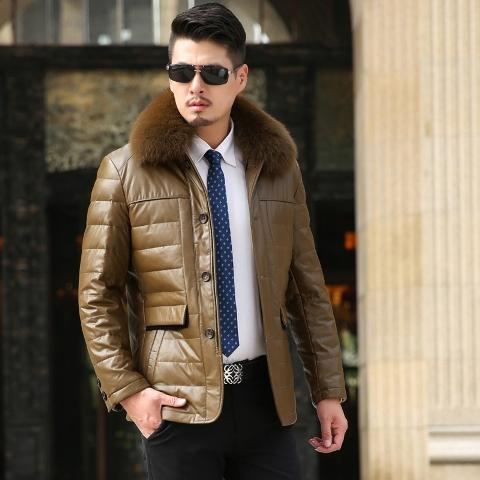 Black jacket with white fur