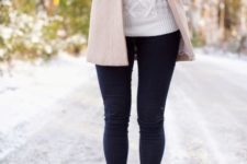 With white sweater, mini pastel color coat and jeans