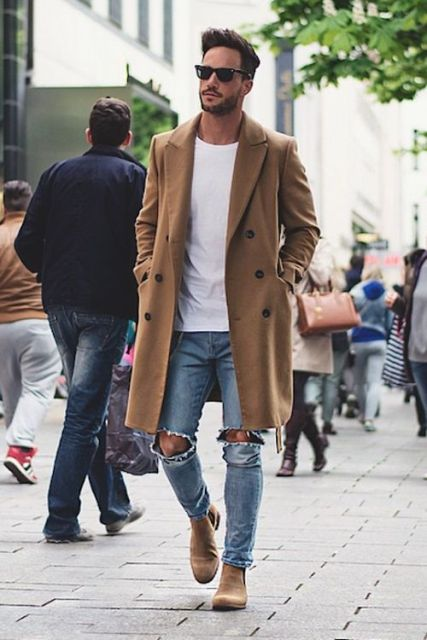 With white t-shirt, distressed jeans and beige suede boots