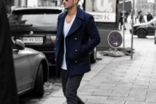 With white t-shirt, navy blue jacket and deep gray pants