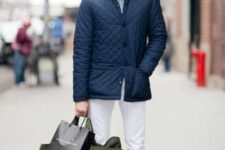 With white trousers and loafers