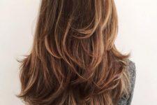 long layered haircut with highlights