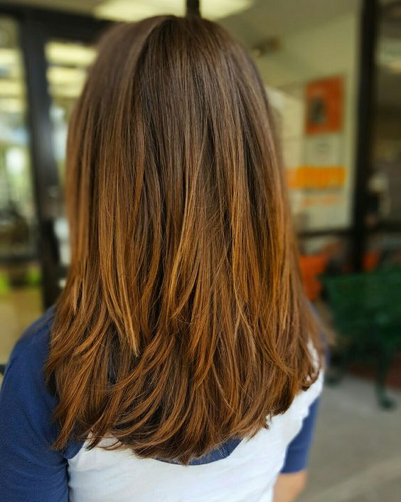 Picture Of lovely medium length hair with choppy layers