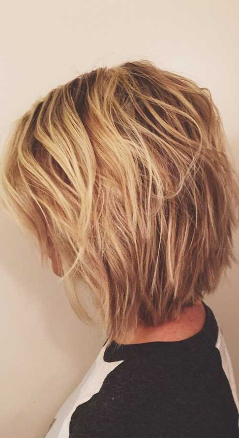 short layered balayage blonde haircut
