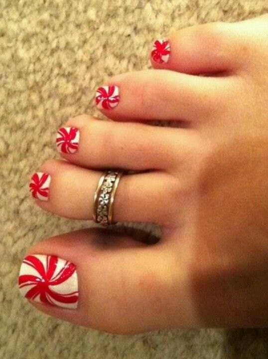 candy cane red toe nails for Christmas