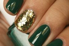 02 emerald nails with a gold sequin accent