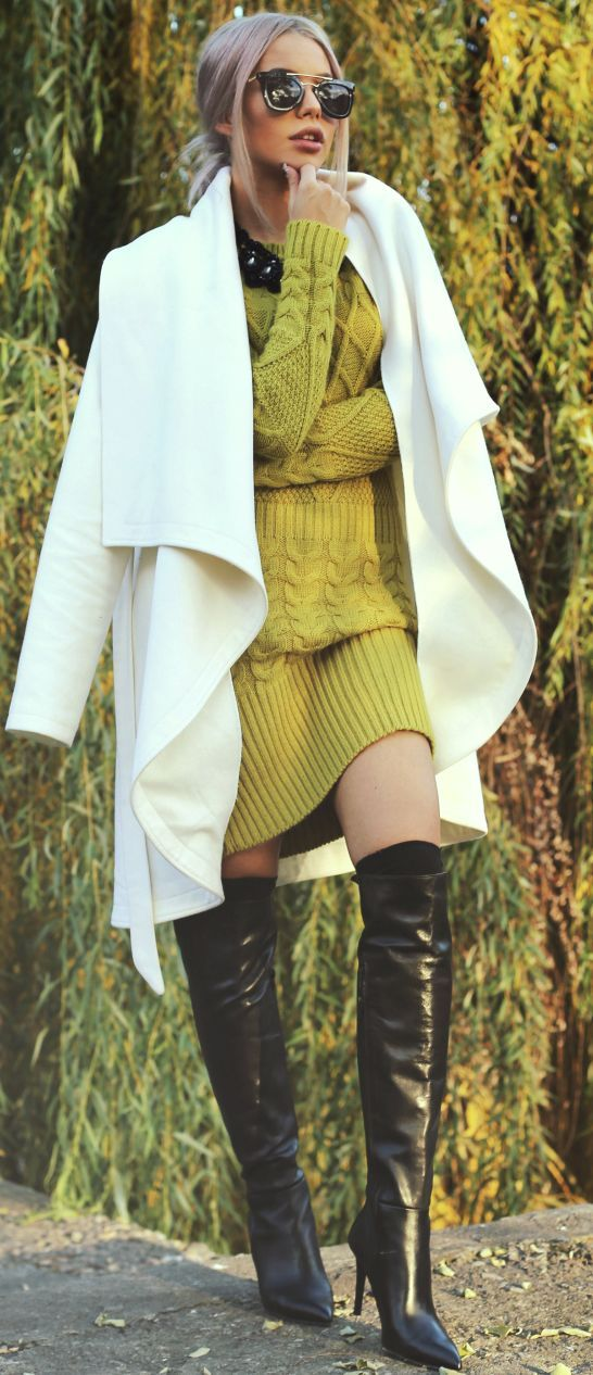 a white coat, a greenery sweater knit dress