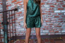 03 emerald halter neckline romper