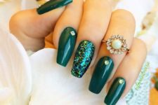 03 emerald nails with a green sequin accent and gems