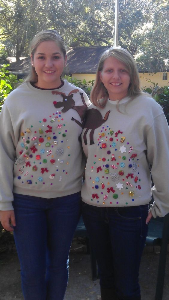 embellished reindeer ugly sweater for two