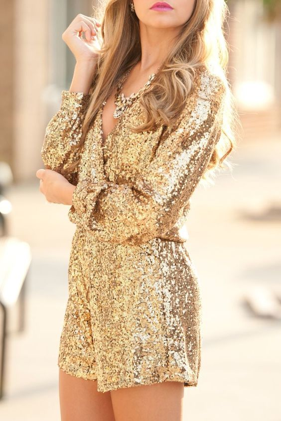 Christmas gold sequin romper with a plunging neckline
