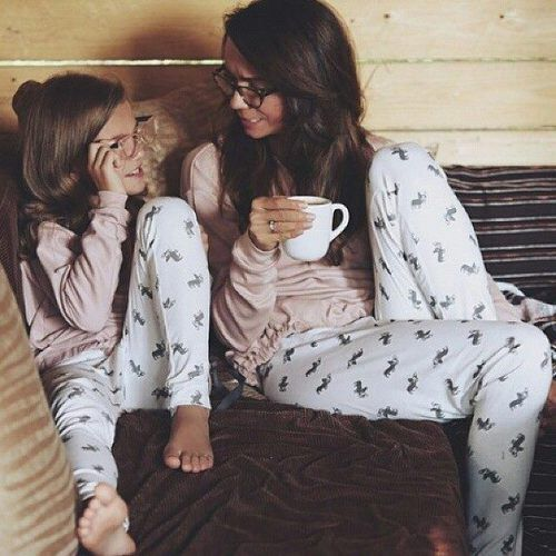 mommy and daughter matching pajamas with blush long sleeves