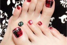 04 red and black nails with snowflakes and plaid accents