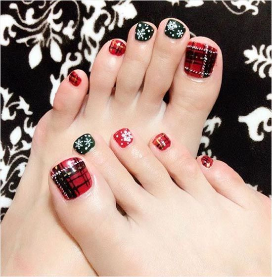 red and black nails with snowflakes and plaid accents - 19 Cute Toe Nail Designs For Winter - Styleoholic