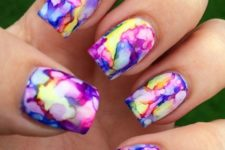 04 super bold watercolor nail art design