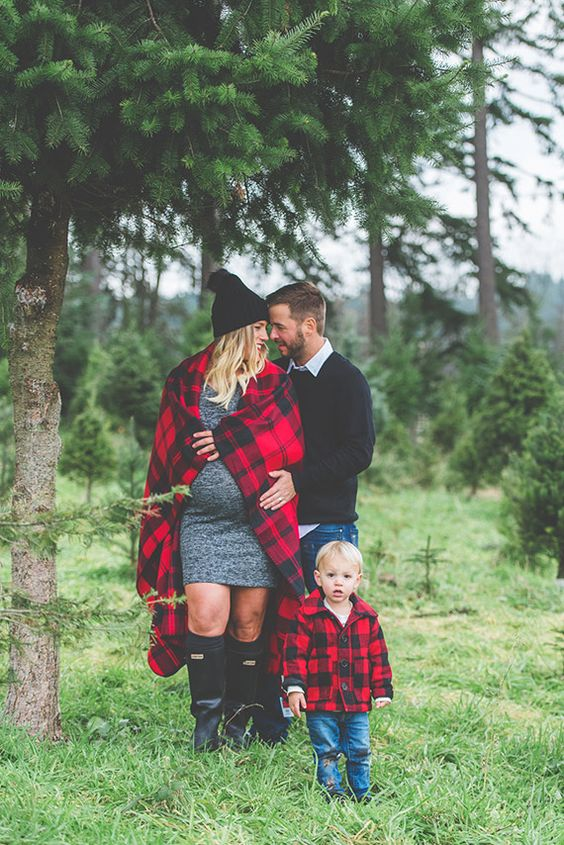 black, denim and tartan outfits for a cozy family look