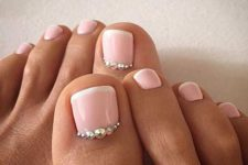 05 blush pedicure with beads for a glam look