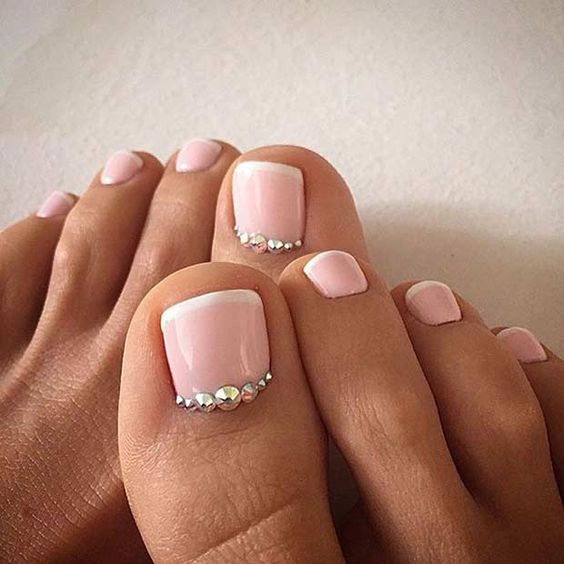 blush pedicure with beads for a glam look