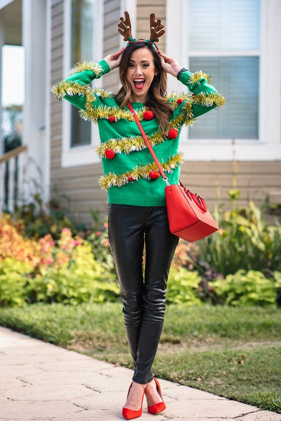 emerald sweater with a sparkly garland and red ornaments - 20 Funny Ugly Sweater Party Outfits For Girls - Styleoholic