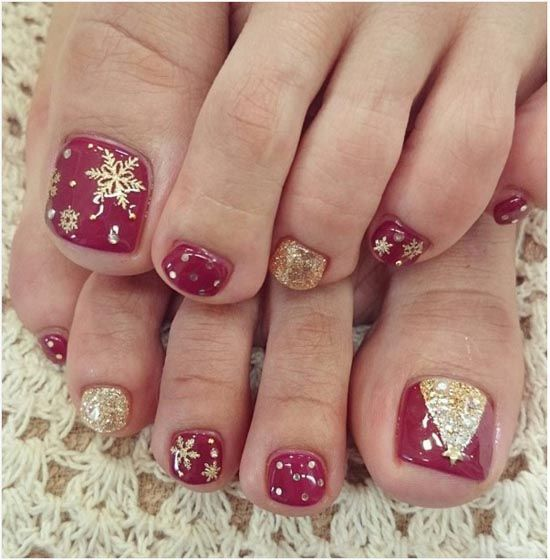 red and gold glitter toe nails with snowflakes