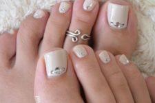 06 cream nails with rhinestones