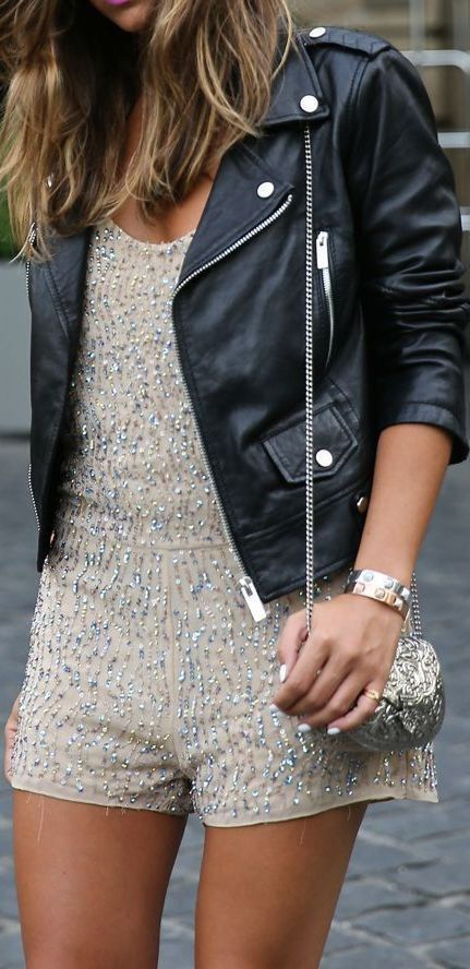 nude romper with silver sequins and a moto jacket