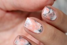 06 pastel peach and grey sharpie nail art