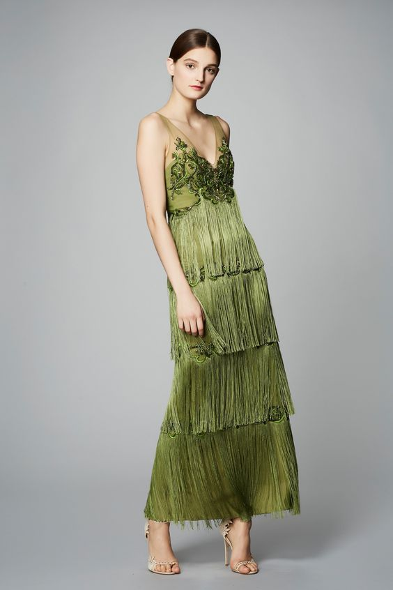 stylish deep V-neck Marchesa fringe dress