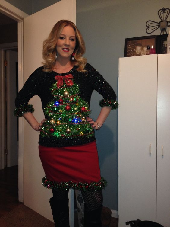 sparkling Christmas sweater with a tree and ornaments