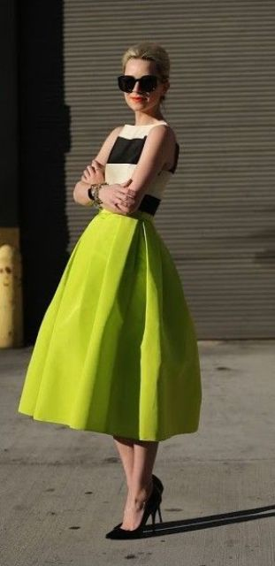 striped shirt and a maxi greenery skirt with black heels