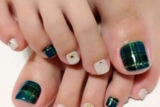 07 white nails with studs and an emerald plaid accent nail