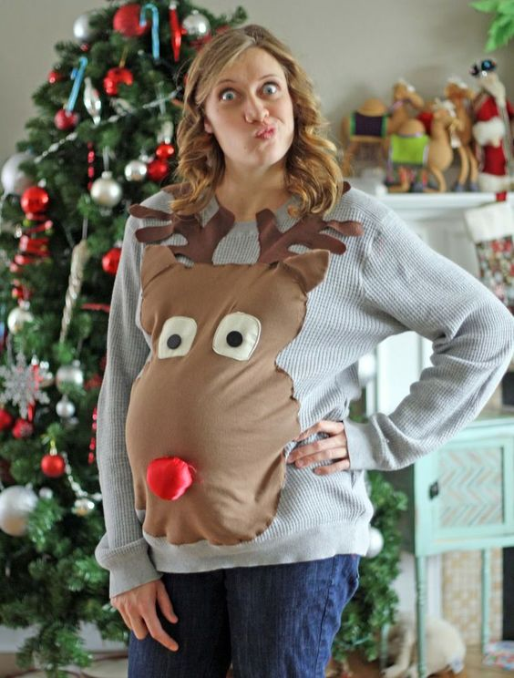 maternity ugly sweater with a large reindeer head
