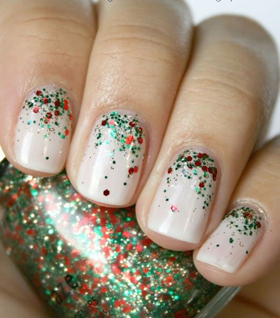 neutral mani with red and emerald glitter