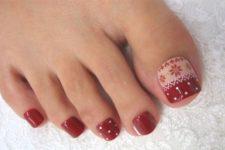 08 red polka dot and Scandi pattern pedicure