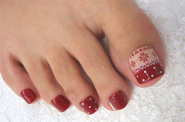 red polka dot and Scandi pattern pedicure