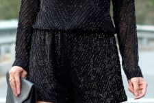08 sparkling black romper with long sleeves looks wow
