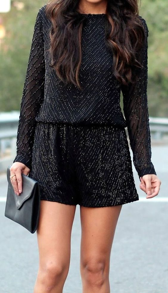 sparkling black romper with long sleeves looks wow