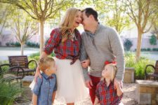 09 matching looks of mom and daughter with tutu skirts and plaid shirts