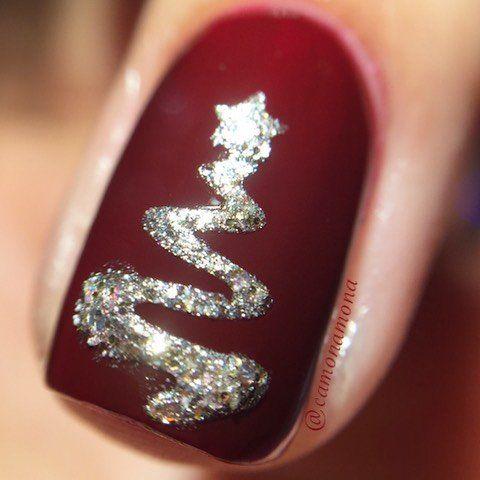 matte marsala nails with a silver ribbon tree