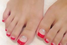 09 red French pedicure with beads looks sexy