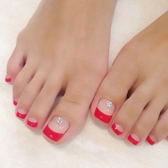 Picture Of Red French Pedicure With Beads Looks Sexy-2542