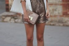 09 rose gold sequin romper, nude shoes and a white cape