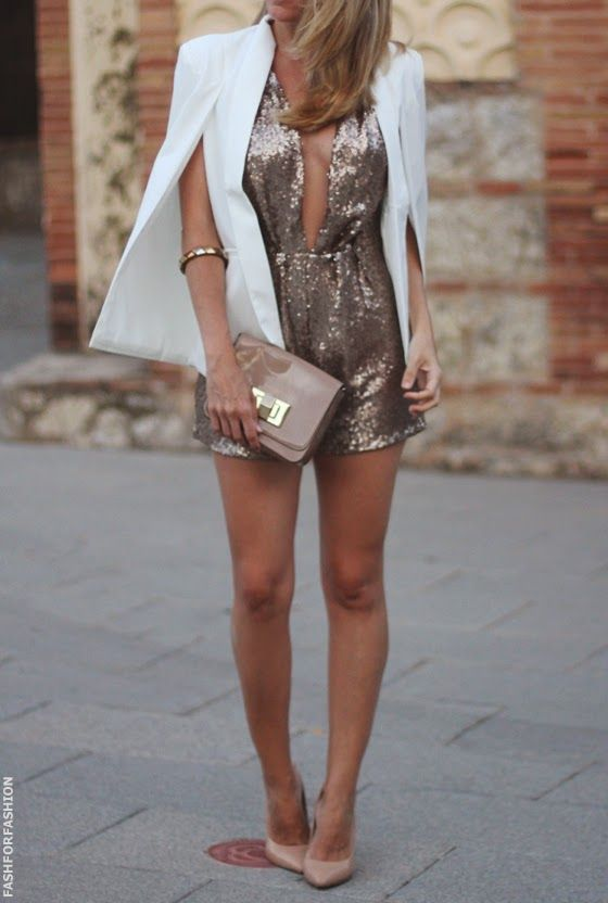 rose gold sequin romper, nude shoes and a white cape