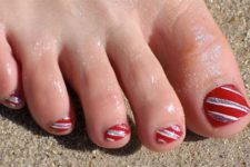 09 striped red and silver pedicure