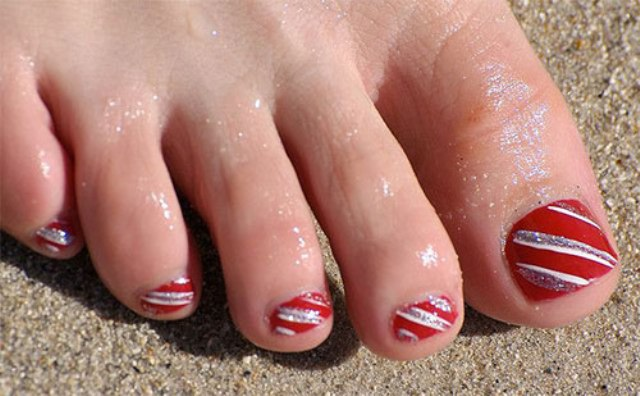 striped red and silver pedicure
