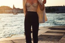 10 black and gold sequin sweetheart neckline jumpsuit