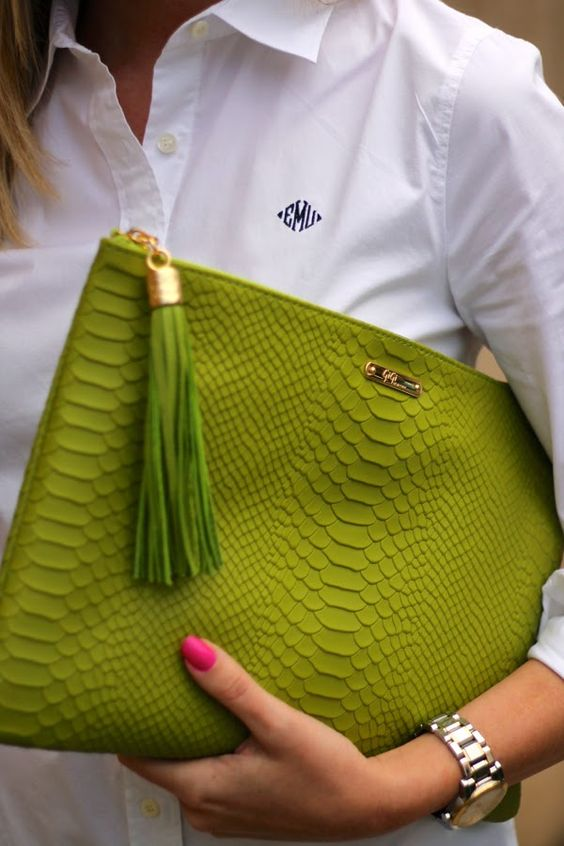 chic greenery oversized clutch with a tassel