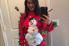 10 fluffy snowman sweater with ornaments attached
