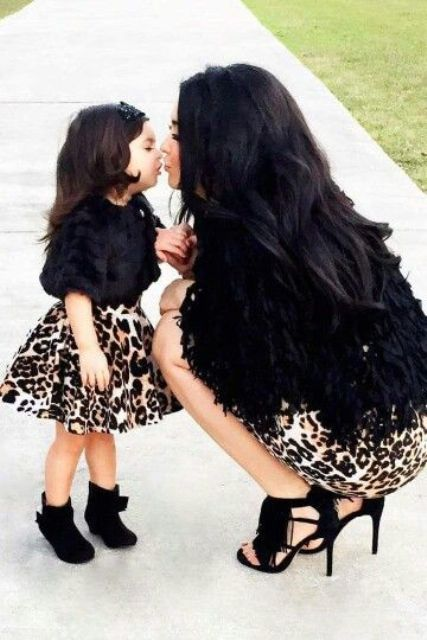leopard skirts, fur jackets and black suede shoes and boots
