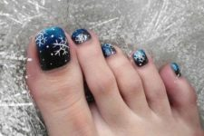 10 ombre navy toe nails with snowflakes